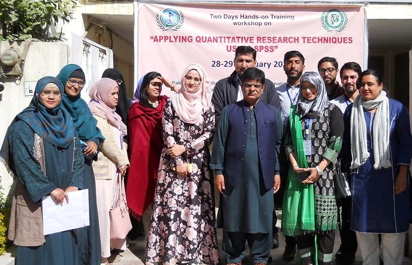 Group Photo of the participants of two days training workshop on 'Applying Quantitative Research Techniques By Using SPSS' held from 28-29 January, 2020 at PASTIC Sub-Center, Karachi.