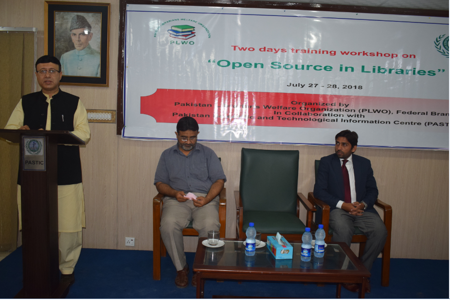 Dr Muhammad Akram Shaikh, Director General PASTIC delivering his speech at the inauguration ceremony of Open Source in Libraries organized by PASTIC. (27<sup>th</sup>, July 2018)