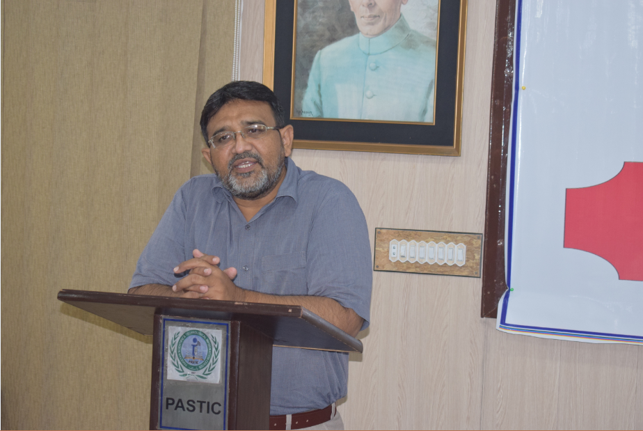 Mr. Syed Habib Akhter Jaffri, Principle Librarian at PASTIC delivering his speech at the inauguration ceremony of Open Source in Libraries organized by PASTIC. (27<sup>th</sup>, July 2018)
