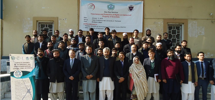 Group photo of the participants during One day Seminar on Importance & Protection of Rights on Intellectual Property of 		Scientists at University of Peshawar  - 17 Jan. 2019.