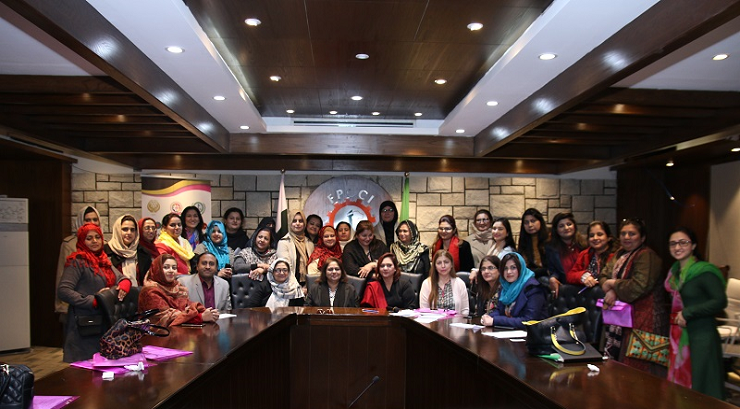 Group Photo of Dr. Saima Tanveer (Project Director, NCBWESC) and Ms. Samina Fazil (Ex. President, IWCCI) with Women SMEs of Federal Region at the end of Data Collection Seminar at Islamabad Women Chamber of Commerce and Industries, Islamabad  - 12 Jan. 2019