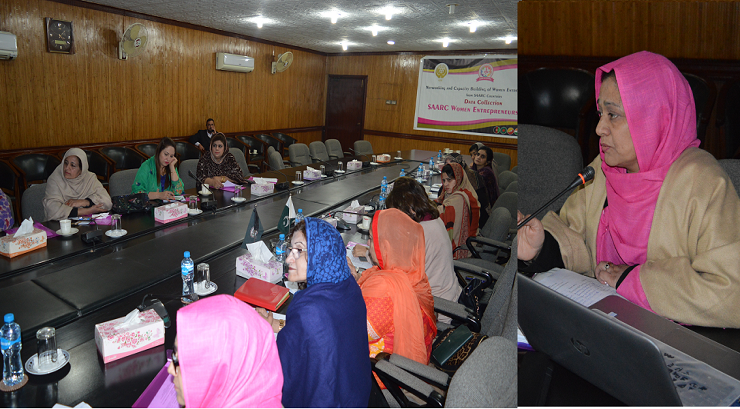 Dr. Saima Huma Tanveer speaks with the audience during the Data Collection Seminar held at Sarhad Women Chamber of Commerce and Industries at Peshawar - 07 Feb. 2019