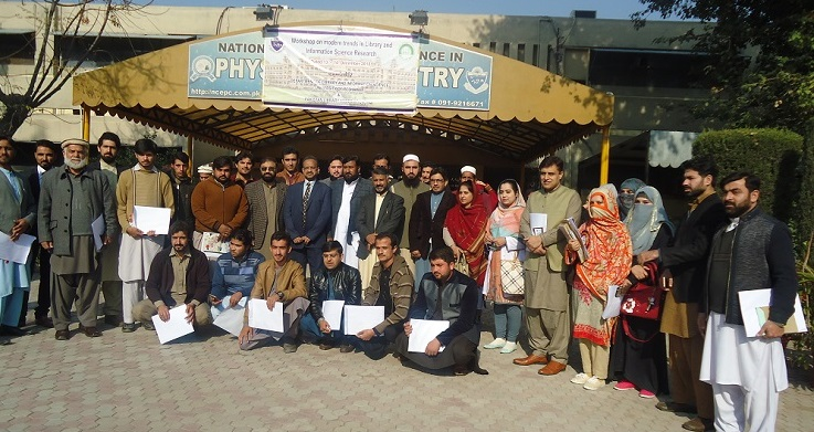 Group Photo of Participants, During Two Days Workshop: Modern Trend in Library & Information Science Research: Jointly organized by PASTIC Sub Centre, Peshawar Pakistan Library Association & Dept. (Dec.  14, 2018)