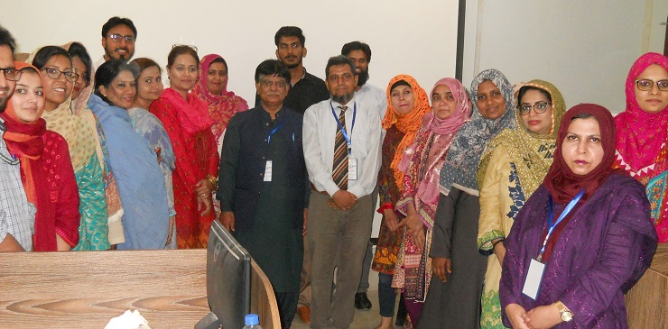 A Group Photo of the Participants during One day training Workshop  on Literature Search & Endonote at Institute of Pharmaceutical Sciences,  Jinnah Sindh Medical University on dated 16 July 2019