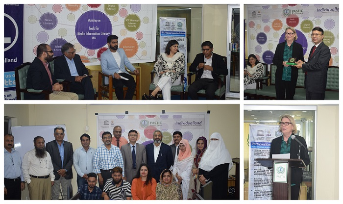 "Glimpses from the training workshop on ""Tools for Media Information Literacy (MIL) jointly organized by PASTIC National Center, Islamabad and IndivdualLand on 22nd-23rd October, 2019 as a part of UNESCO Information for ALL Programme (IFAP)."