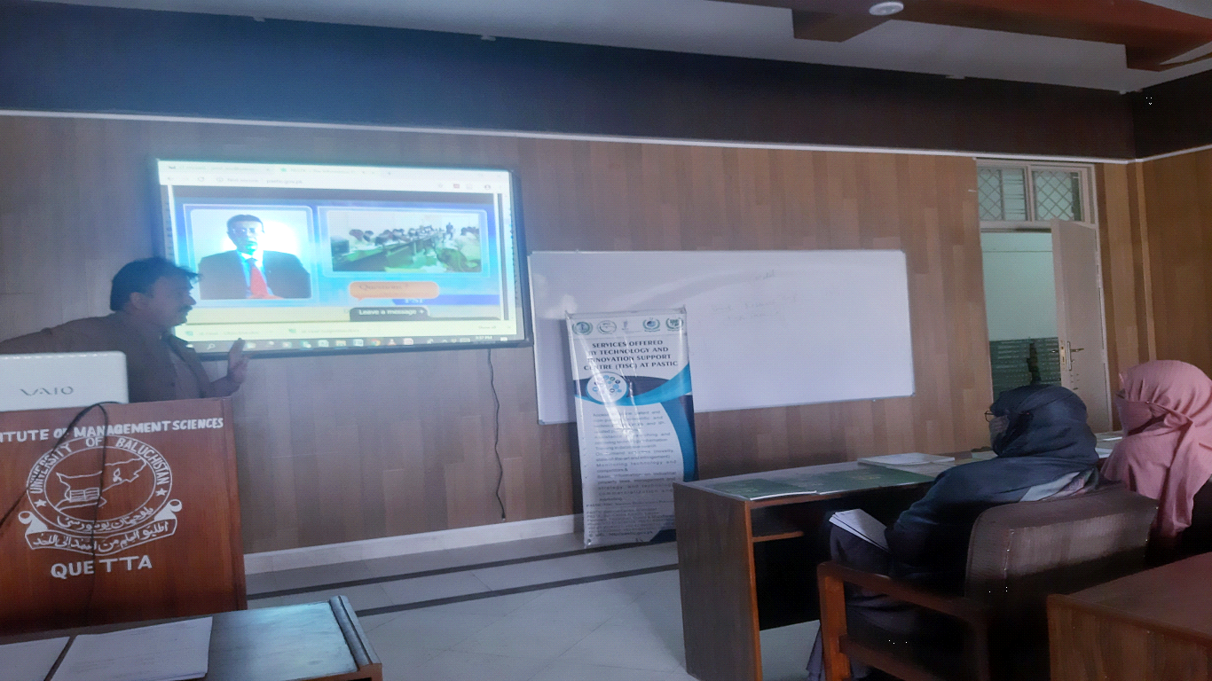 In-Charge PASTIC PSC Quetta delivering briefing to students about PASTIC services in a Seminar held at Institute of Management Sciences, University of Balochistan Quetta, on 16th OCT, 2019.